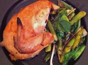 Roast Chicken With Ramps, Asparagus and Capers