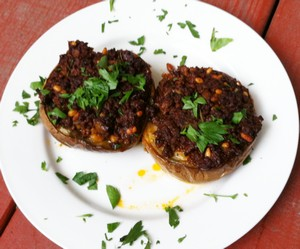 Stuffed Eggplant With Lamb and Pine Nuts