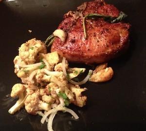 Accidental Locavore Pork Chop and Cauliflower