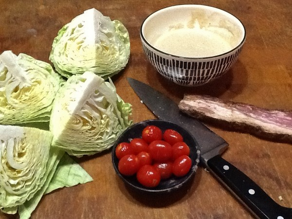 Accidental Locavore Cabbage Wedge Prep