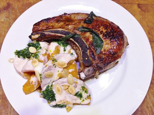 Accidental Locavore Butternut Squash With Pork Chop