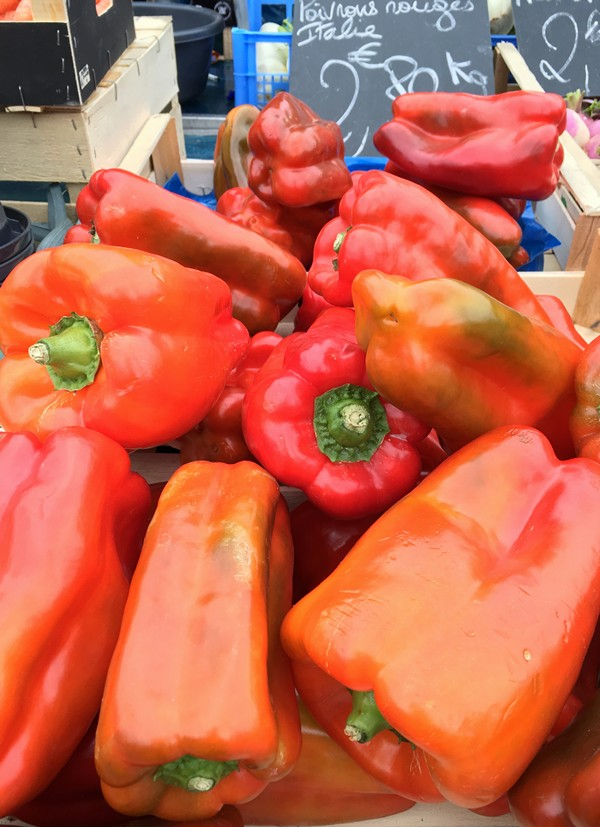 Accidental Locavore Red Peppers in Nice Market