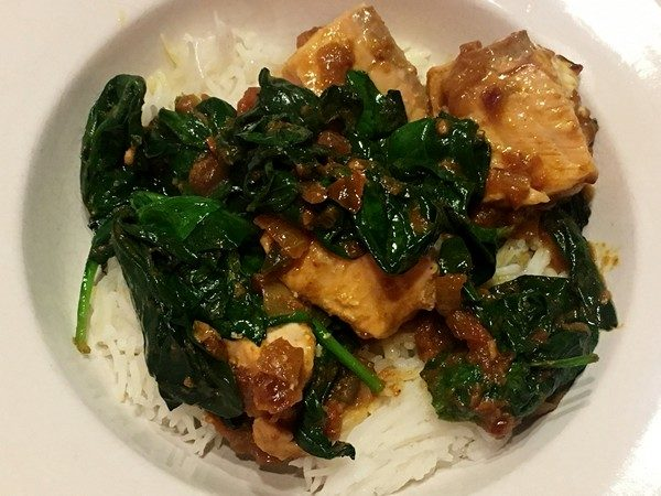 Accidental Locavore Salmon and Spinach Curry