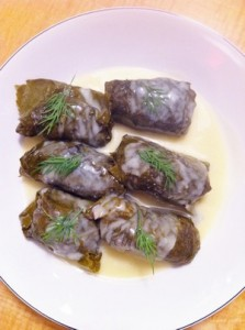 Accidental Locavore Stuffed Grape Leaves With Sauce