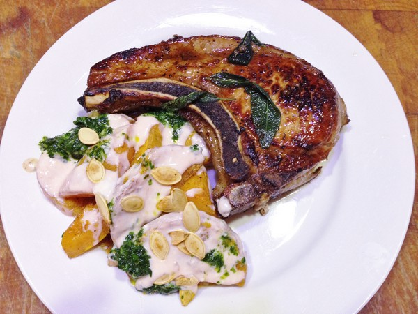 Accidental Locavore Butternut Squash With Pork Chop