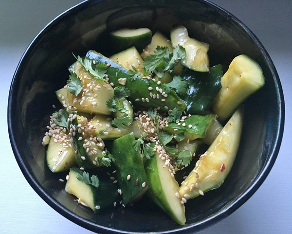 Accidental Locavore Smashed Cucumber Salad