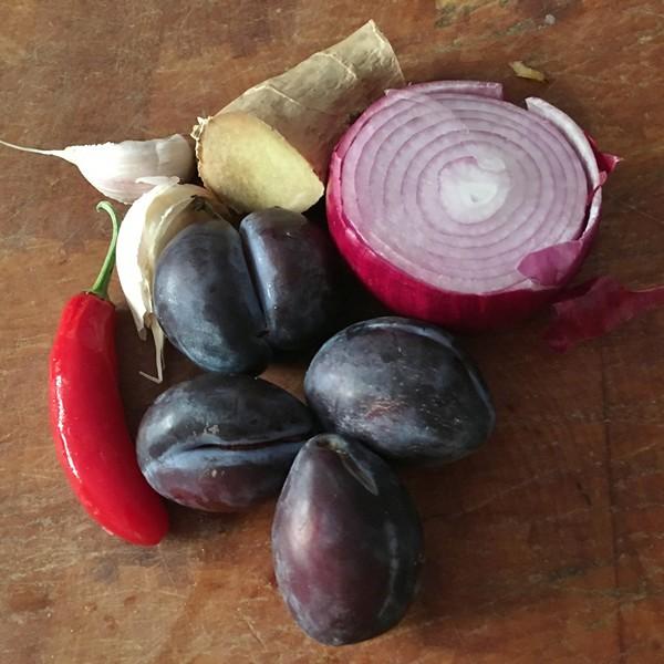 accidental-locavore-plum-chutney-ingredients