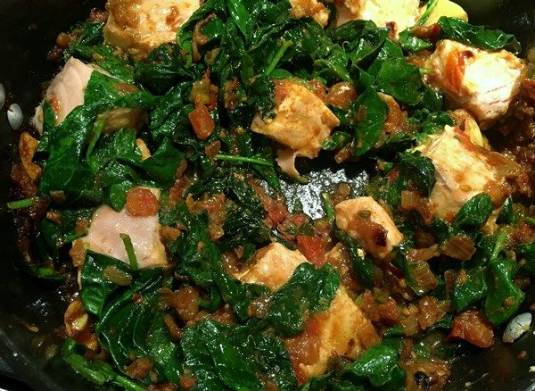 Accidental Locavore Salmon and Spinach Curry Cooking