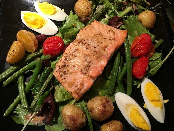 Plated Salmon Nicoise Salad